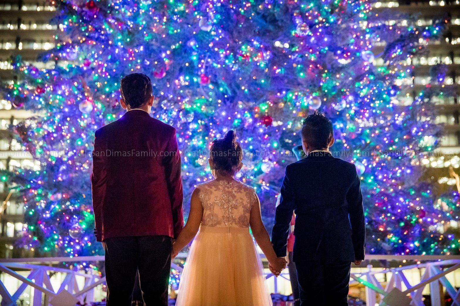 Christmas Family Photo with Huge Christmas Tree